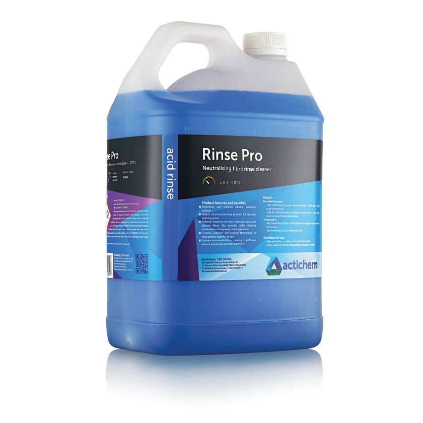 Neutralising acid fibre rinse and cleaner for carpets and upholstery